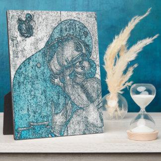 Virgin Mary Baby Jesus Angel Portrait Vintage Blue Display Plaque