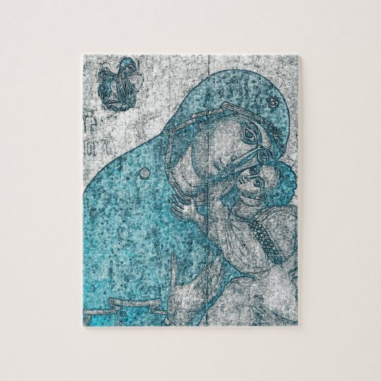 Virgin Mary Baby Jesus Angel Portrait Vintage Blue Jigsaw Puzzle