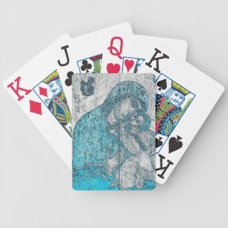 Virgin Mary Baby Jesus Angel Portrait Vintage Blue Poker Deck