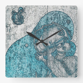 Virgin Mary Baby Jesus Angel Portrait Vintage Blue Square Wall Clock