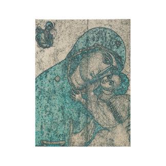 Virgin Mary Baby Jesus Angel Portrait Vintage Blue Wood Poster