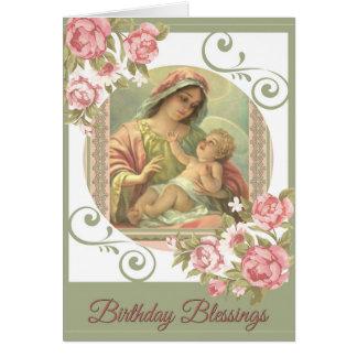 Virgin Mary Baby Jesus Birthday Blessings Card