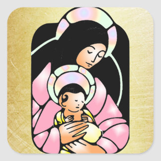 Virgin Mary & Baby Jesus Christmas Sticker