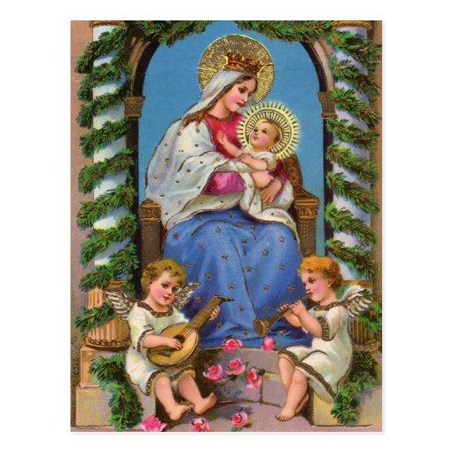 Virgin Mary Baby Jesus Vintage Christmas Postcards