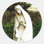 Virgin Mary Garden Statue Classic Round Sticker