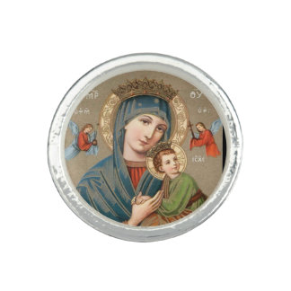 Virgin Mary holding Child Jesus Icon Ring