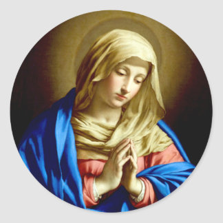 Virgin Mary in Prayer Classic Round Sticker