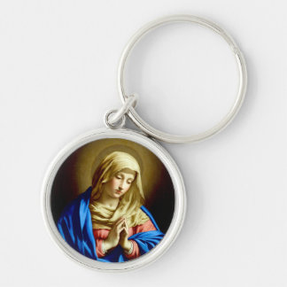 Virgin Mary in Prayer Silver-Colored Round Key Ring