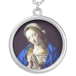Virgin Mary in Prayer Silver Plated Necklace