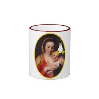 VIRGIN MARY JESUS LINUX TUX RINGER MUG