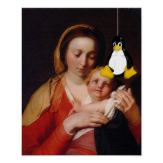 VIRGIN MARY JESUS LINUX TUX POSTER