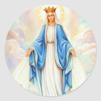 Virgin Mary Lady of Grace Queen of Heaven Madonna Classic Round Sticker