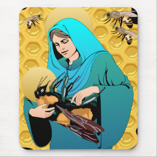 Virgin Mary Madonna & Bumble Bee Mouse Pad