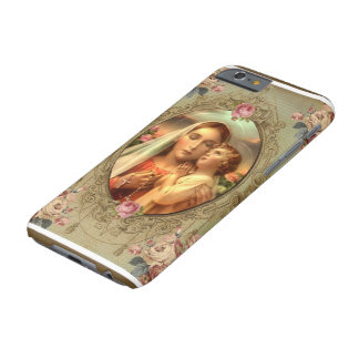 Virgin Mary Madonna Child Jesus Rosary Roses Barely There iPhone 6 Case