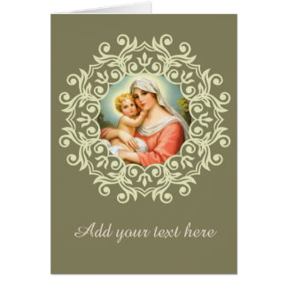 Virgin Mary Madonna with Baby Jesus Lace Card