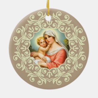 Virgin Mary Madonna with Baby Jesus Lace Round Ceramic Decoration