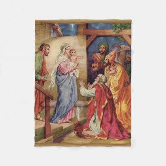 Virgin Mary Magi Three Kings Nativity Christmas Fleece Blanket