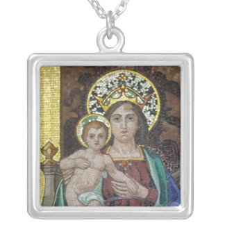 Virgin Mary Square Pendant Necklace