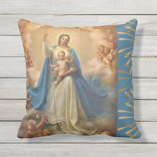 Virgin Mary Queen of the Angels Outdoor Cushion