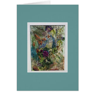 Virgin Mary Rosary Watercolor art Card