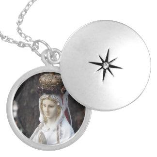 Virgin Mary Round Locket Necklace