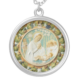 Virgin Mary Round Pendant Necklace