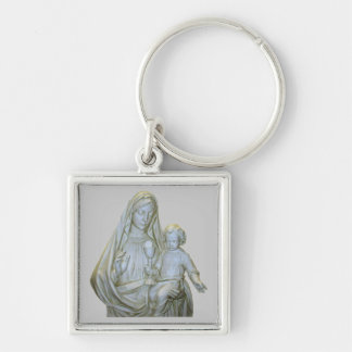 Virgin Mary Silver-Colored Square Key Ring