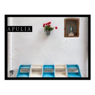 Virgin Mary street altar in Apulia edge postcard