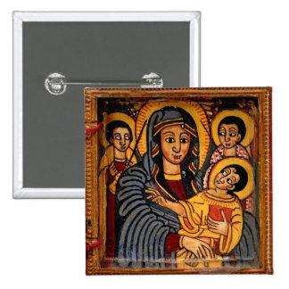 Virgin Mary the Theotokos Ethiopian Icon 15 Cm Square Badge