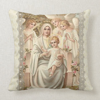 """VIRGIN MARY WITH ANGELS & BABY JESUS CUSHION"