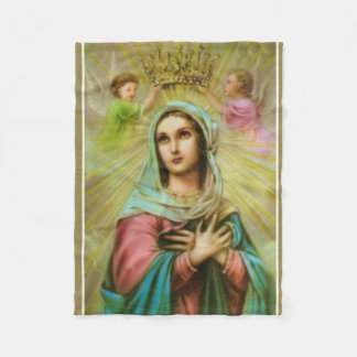 Virgin Mary with Angels being crowned Fleece Blanket