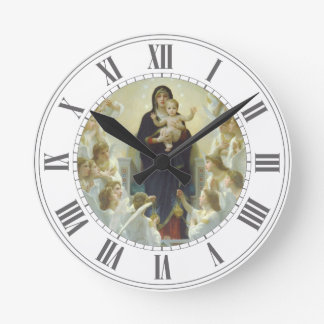 Virgin Mary with Baby Jesus and Angels Clock