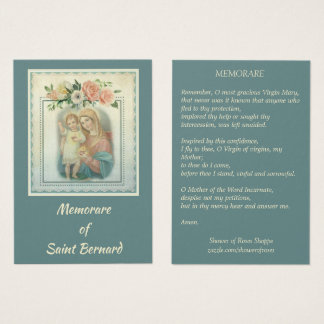 Virgin Mary with Baby Jesus Memorare Holy Card