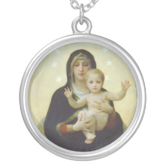 Virgin Mary with Baby Jesus Round Pendant Necklace