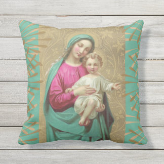 Virgin Mary with Christ Child Jesus Cushion