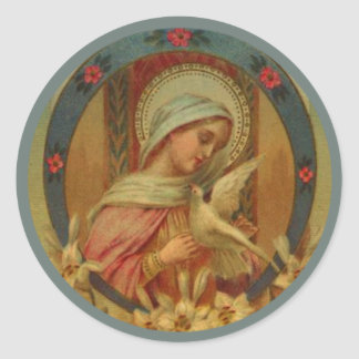 Virgin Mary with doves, lily & roses Classic Round Sticker
