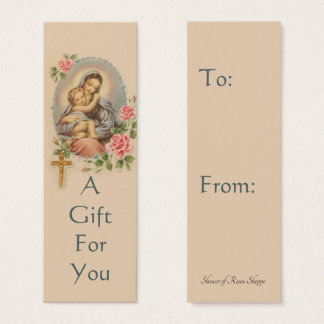 Virgin Mary with Roses Gift Tag
