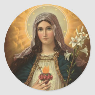 Virgin Mary with the Lilies Classic Round Sticker