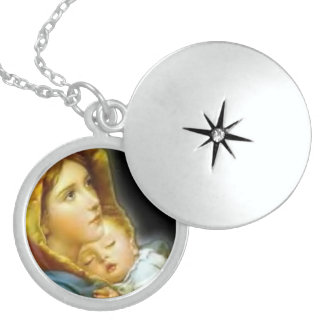 Virgin Mother Mary and Baby Child Jesus Round Locket Necklace