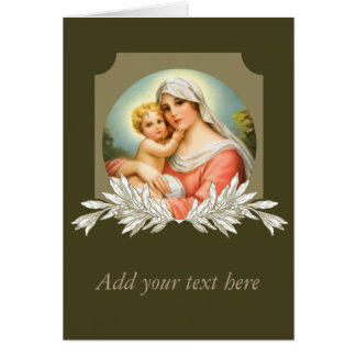 Virgin Mother Mary Baby Jesus Branch Card