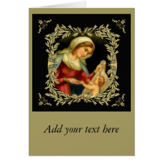 Virgin Mother Mary Baby Jesus Gold Border Card