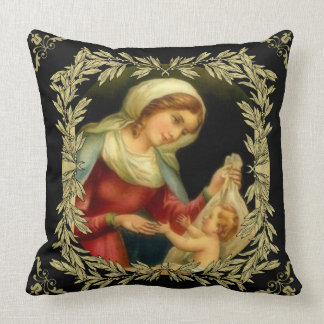 Virgin Mother Mary Baby Jesus Gold Border Cushion