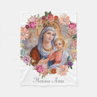 Virgin Mother Mary with Baby Jesus Fleece Blanket