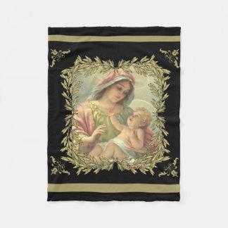 Virgin Mother Mary with Baby Jesus Gold Fleece Blanket