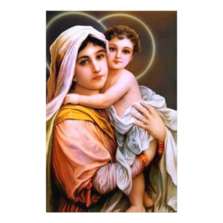 Virgin Mother Mary with Baby Jesus Stationery