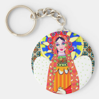 Virgin of Guadalupe Basic Round Button Key Ring