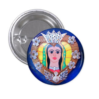 Virgin of Guadalupe Heart button