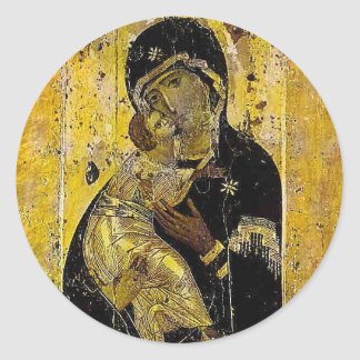 Virgin of Kyiv Ukrainian Icon Madonna Classic Round Sticker