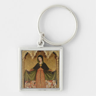 Virgin of Misericordia, detail of central Silver-Colored Square Key Ring