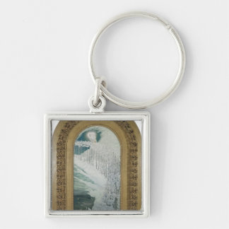 Virgin of the Lilies, 1899 Silver-Colored Square Key Ring